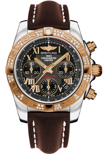 Breitling Watches - Chronomat 41 Steel and Gold Diamond Bezel - Leather Strap - Tang - Style No: CB0140AA/BC08-leather-brown-tang