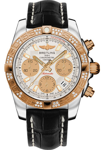 Breitling Watches - Chronomat 41 Steel and Gold Diamond Bezel - Croco Strap - Deployant - Style No: CB0140AA/G713-croco-black-deployant