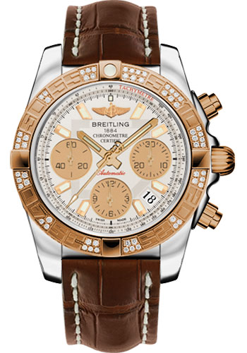 Breitling Watches - Chronomat 41 Steel and Gold Diamond Bezel - Croco Strap - Deployant - Style No: CB0140AA/G713-croco-brown-deployant