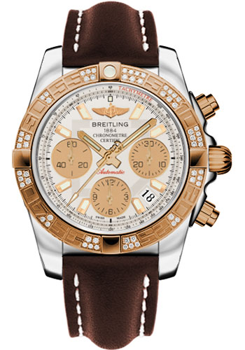 Breitling Watches - Chronomat 41 Steel and Gold Diamond Bezel - Leather Strap - Deployant - Style No: CB0140AA/G713-leather-brown-deployant