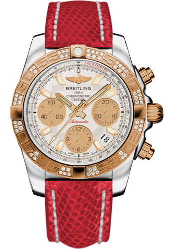 Breitling Watches - Chronomat 41 Steel and Gold Diamond Bezel - Lizard Strap - Deployant - Style No: CB0140AA/G713-lizard-red-deployant