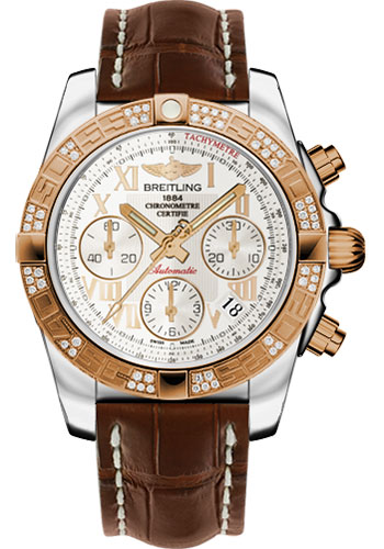 Breitling Watches - Chronomat 41 Steel and Gold Diamond Bezel - Croco Strap - Deployant - Style No: CB0140AA/G759-croco-brown-deployant