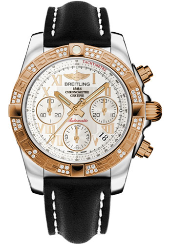 Breitling Watches - Chronomat 41 Steel and Gold Diamond Bezel - Leather Strap - Deployant - Style No: CB0140AA/G759-leather-black-deployant