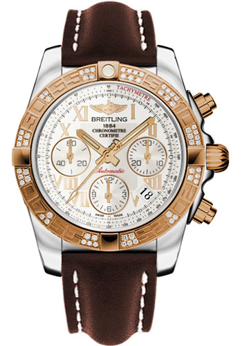 Breitling Watches - Chronomat 41 Steel and Gold Diamond Bezel - Leather Strap - Deployant - Style No: CB0140AA/G759-leather-brown-deployant