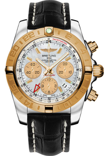 Breitling Watches - Chronomat 44 GMT Steel and Gold on Croco Deployant - Style No: CB042012/A739-croco-black-deployant
