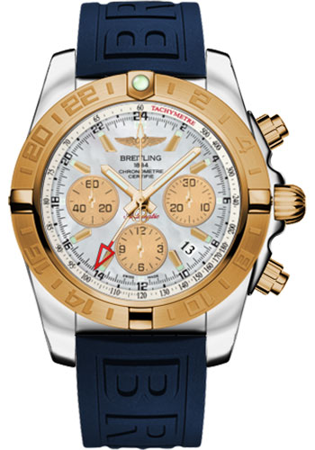 Breitling Watches - Chronomat 44 GMT Steel and Gold on Diver Pro III Deployant - Style No: CB042012/A739-diver-pro-iii-blue-folding