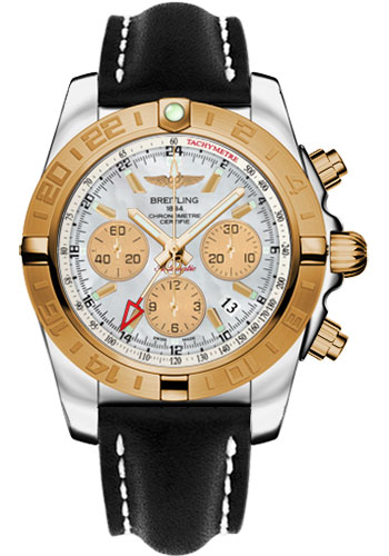 Breitling Watches - Chronomat 44 GMT Steel and Gold on Leather Deployant - Style No: CB042012/A739-leather-black-deployant