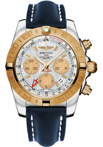 Breitling Watches - Chronomat 44 GMT Steel and Gold on Leather Deployant - Style No: CB042012/A739-leather-blue-deployant