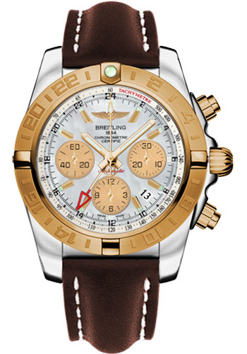 Breitling Watches - Chronomat 44 GMT Steel and Gold on Leather Deployant - Style No: CB042012/A739-leather-brown-deployant