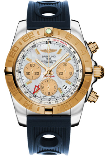 Breitling Watches - Chronomat 44 GMT Steel and Gold on Ocean Racer - Style No: CB042012/A739-ocean-racer-blue-folding
