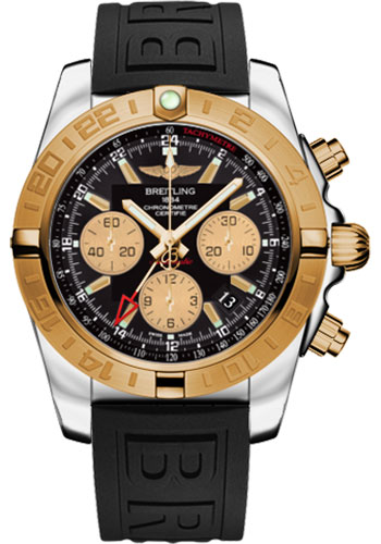 Breitling Watches - Chronomat 44 GMT Steel and Gold on Diver Pro III Deployant - Style No: CB042012/BB86-diver-pro-iii-black-folding