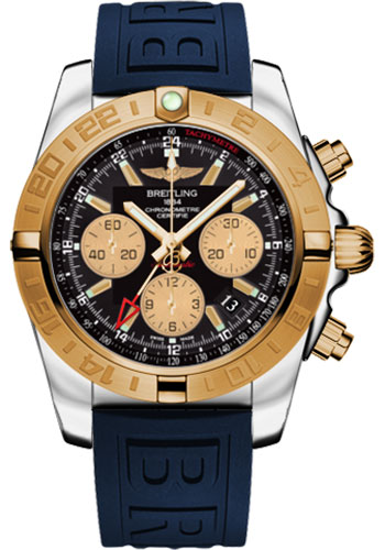 Breitling Watches - Chronomat 44 GMT Steel and Gold on Diver Pro III Deployant - Style No: CB042012/BB86-diver-pro-iii-blue-folding