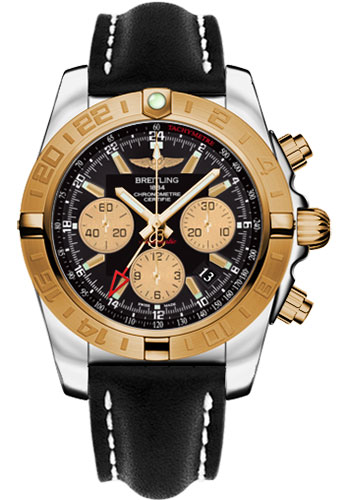 Breitling Watches - Chronomat 44 GMT Steel and Gold on Leather Deployant - Style No: CB042012/BB86-leather-black-deployant