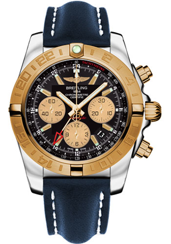 Breitling Watches - Chronomat 44 GMT Steel and Gold on Leather Deployant - Style No: CB042012/BB86-leather-blue-deployant