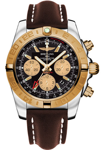 Breitling Watches - Chronomat 44 GMT Steel and Gold on Leather Deployant - Style No: CB042012/BB86-leather-brown-deployant