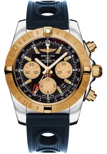 Breitling Watches - Chronomat 44 GMT Steel and Gold on Ocean Racer - Style No: CB042012/BB86-ocean-racer-blue-folding