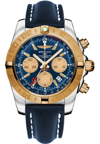 Breitling Watches - Chronomat 44 GMT Steel and Gold on Leather Deployant - Style No: CB042012/C858-leather-blue-deployant