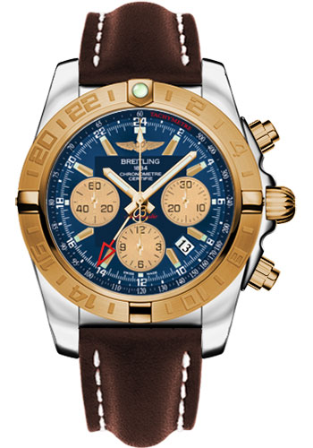Breitling Watches - Chronomat 44 GMT Steel and Gold on Leather Deployant - Style No: CB042012/C858-leather-brown-deployant