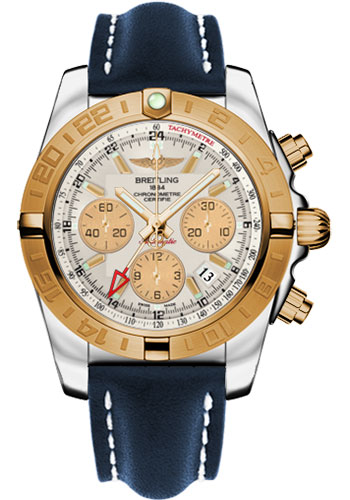 Breitling Watches - Chronomat 44 GMT Steel and Gold on Leather Deployant - Style No: CB042012/G755-leather-blue-deployant