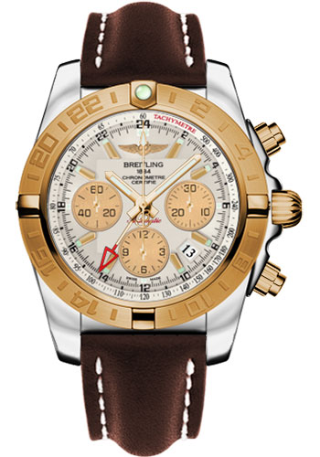 Breitling Watches - Chronomat 44 GMT Steel and Gold on Leather Deployant - Style No: CB042012/G755-leather-brown-deployant