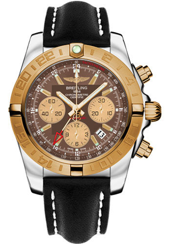 Breitling Watches - Chronomat 44 GMT Steel and Gold on Leather Deployant - Style No: CB042012/Q590-leather-black-deployant