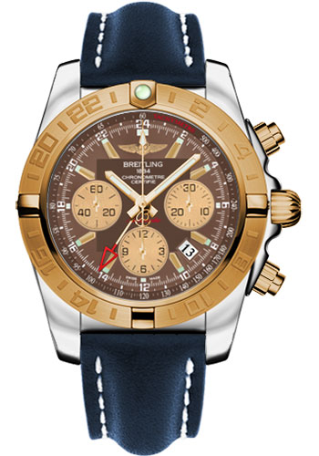 Breitling Watches - Chronomat 44 GMT Steel and Gold on Leather Tang - Style No: CB042012/Q590-leather-blue-tang