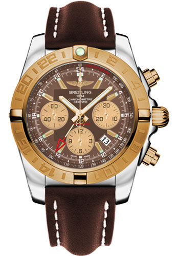 Breitling Watches - Chronomat 44 GMT Steel and Gold on Leather Deployant - Style No: CB042012/Q590-leather-brown-deployant