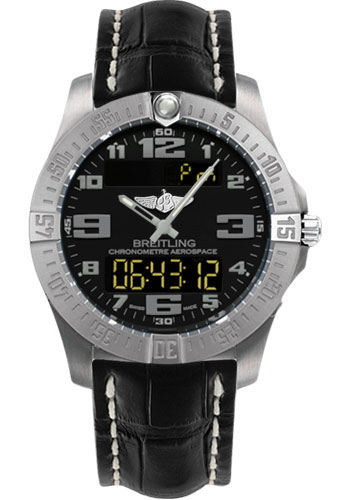 Breitling Watches - Aerospace Evo Croco Strap - Deployant Buckle - Style No: E7936310/BC27-croco-black-deployant