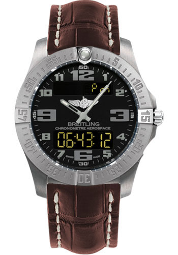 Breitling Watches - Aerospace Evo Croco Strap - Tang Buckle - Style No: E7936310/BC27-croco-brown-tang