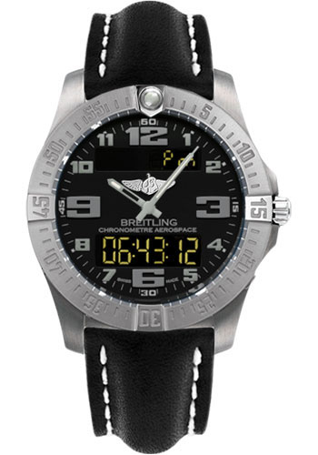 Breitling Watches - Aerospace Evo Leather Strap - Deployant Buckle - Style No: E7936310/BC27-leather-black-deployant
