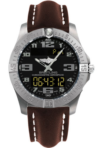 Breitling Watches - Aerospace Evo Leather Strap - Tang Buckle - Style No: E7936310/BC27-leather-brown-tang