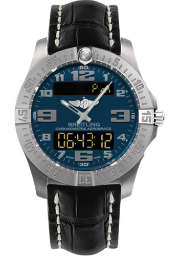 Breitling Watches - Aerospace Evo Croco Strap - Tang Buckle - Style No: E7936310/C869-croco-black-tang
