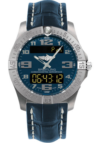 Breitling Watches - Aerospace Evo Croco Strap - Deployant Buckle - Style No: E7936310/C869-croco-blue-deployant