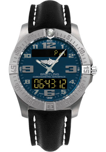Breitling Watches - Aerospace Evo Leather Strap - Deployant Buckle - Style No: E7936310/C869-leather-black-deployant