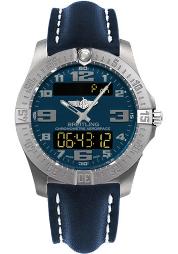 Breitling Watches - Aerospace Evo Leather Strap - Deployant Buckle - Style No: E7936310/C869-leather-blue-deployant