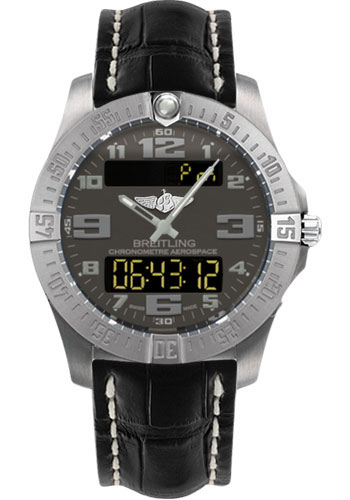 Breitling Watches - Aerospace Evo Croco Strap - Deployant Buckle - Style No: E7936310/F562-croco-black-deployant