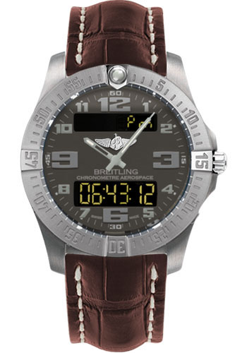 Breitling Watches - Aerospace Evo Croco Strap - Tang Buckle - Style No: E7936310/F562-croco-brown-tang