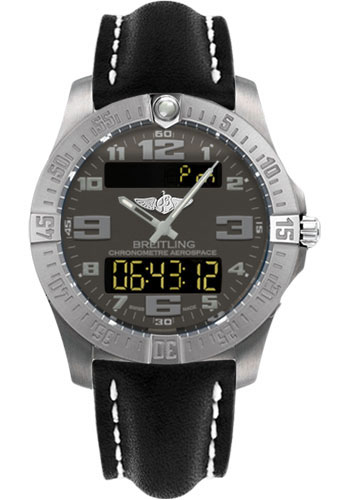 Breitling Watches - Aerospace Evo Leather Strap - Tang Buckle - Style No: E7936310/F562-leather-black-tang