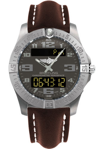Breitling Watches - Aerospace Evo Leather Strap - Deployant Buckle - Style No: E7936310/F562-leather-brown-deployant