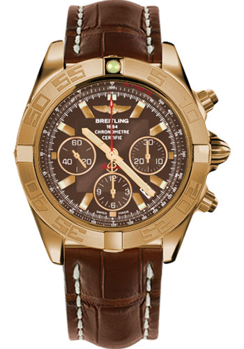 Breitling Watches - Chronomat 44 Rose Gold Satin Finish Special Edition - Style No: HB011010/Q588-croco-brown-deployant