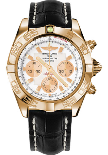 Breitling Watches - Chronomat 44 Rose Gold Polished Bezel - Croco Strap - Tang - Style No: HB011012/A696-croco-black-tang