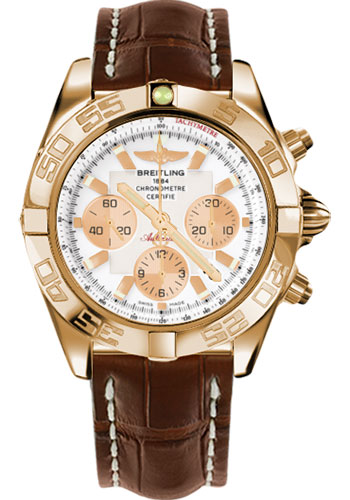 Breitling Watches - Chronomat 44 Rose Gold Polished Bezel - Croco Strap - Tang - Style No: HB011012/A696-croco-brown-tang