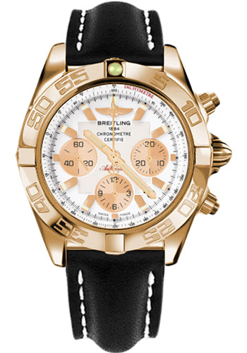 Breitling Watches - Chronomat 44 Rose Gold Polished Bezel - Leather Strap - Deployant - Style No: HB011012/A696-leather-black-deployant