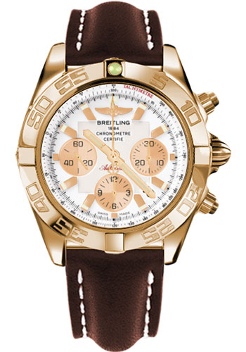 Breitling Watches - Chronomat 44 Rose Gold Polished Bezel - Leather Strap - Tang - Style No: HB011012/A696-leather-brown-tang
