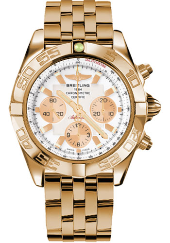 Breitling Watches - Chronomat 44 Rose Gold Polished Bezel - Pilot Bracelet - Style No: HB011012/A696-pilot-rose-gold