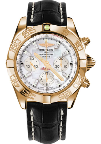 Breitling Watches - Chronomat 44 Rose Gold Polished Bezel - Croco Strap - Tang - Style No: HB011012/A698-croco-black-tang