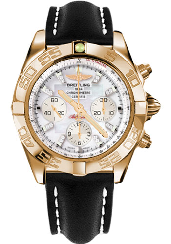 Breitling Watches - Chronomat 44 Rose Gold Polished Bezel - Leather Strap - Tang - Style No: HB011012/A698-leather-black-tang