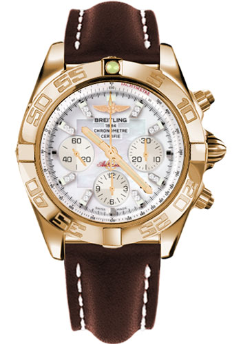 Breitling Watches - Chronomat 44 Rose Gold Polished Bezel - Leather Strap - Tang - Style No: HB011012/A698-leather-brown-tang