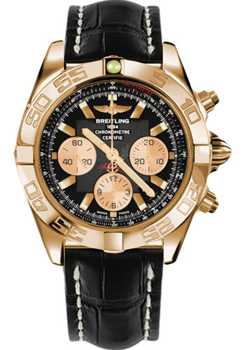 Breitling Watches - Chronomat 44 Rose Gold Polished Bezel - Croco Strap - Tang - Style No: HB011012/B968-croco-black-tang