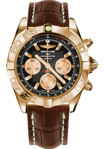 Breitling Watches - Chronomat 44 Rose Gold Polished Bezel - Croco Strap - Tang - Style No: HB011012/B968-croco-brown-tang
